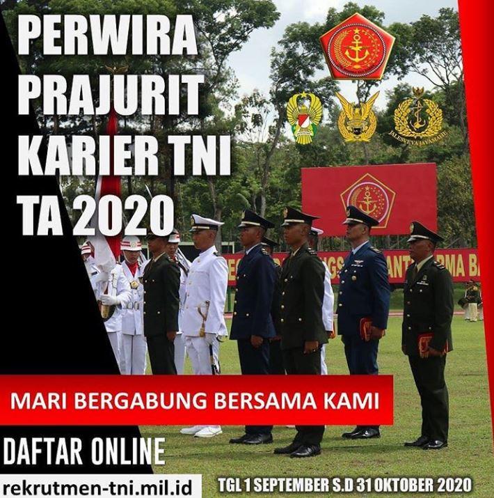 PENERIMAAN CALON PERWIRA PRAJURIT KARIER (Pa PK) TNI SUMBER LULUSAN PERGURUAN TINGGI (REGULER) TA 2020